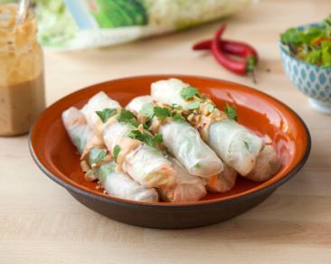 ספרינג רול במילוי ירקות עם רוטב חמאת בוטנים ליד