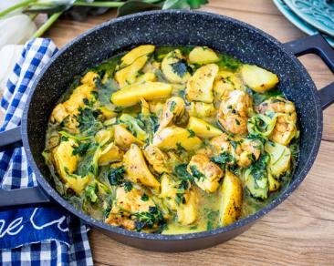 תבשיל מהיר של פרגיות חאוויג ופלחי תפוחי אדמה