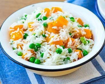 אורז עם קוביות דלעת ואפונה